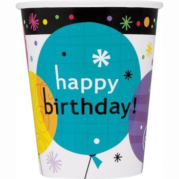 8 gobelets Birthday breezy ballons