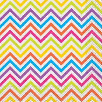 16 Serviettes chevrons multicolore