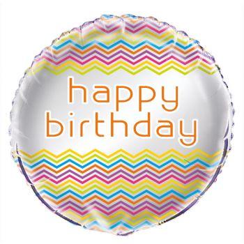 Ballon helium Birthday chevrons multicolore