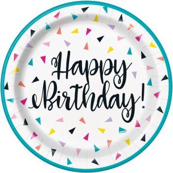 8 Assiettes Birthday triangle confettis