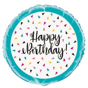 Ballon hélium Birthday triangle confettis