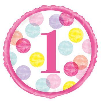 Ballon hélium 1 an pink dots