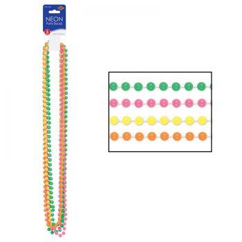 6 Colliers de perles fluo