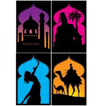 4 Pancartes silhouettes Mille et une nuit