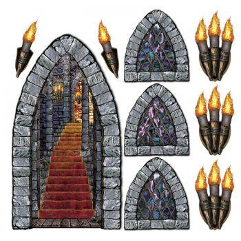 Décor mural escalier fenêtre et torche de château