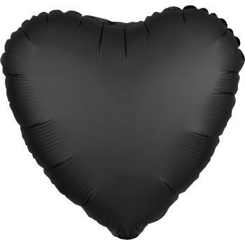 Ballon hélium satin luxe noir coeur