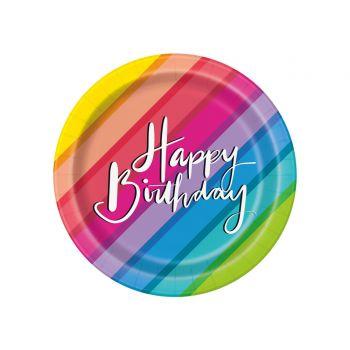 8 assiettes à dessert Rainbow Birthday ballons