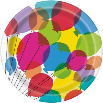 8 Assiettes rainbow Birthday ballons