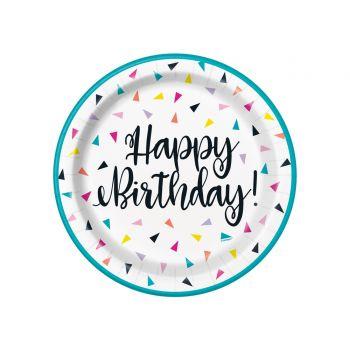 8 Assiettes dessert Birthday triangle confettis