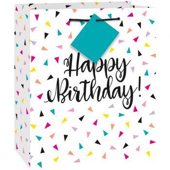 Sac cadeau Birthday triangle confettis