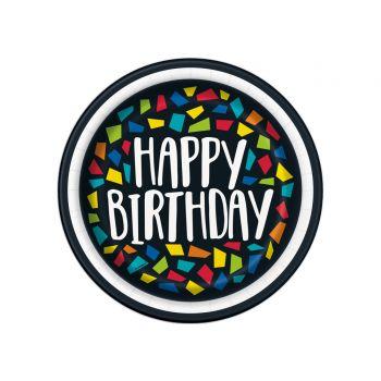 8 Assiettes dessert Happy Birthday mosaic