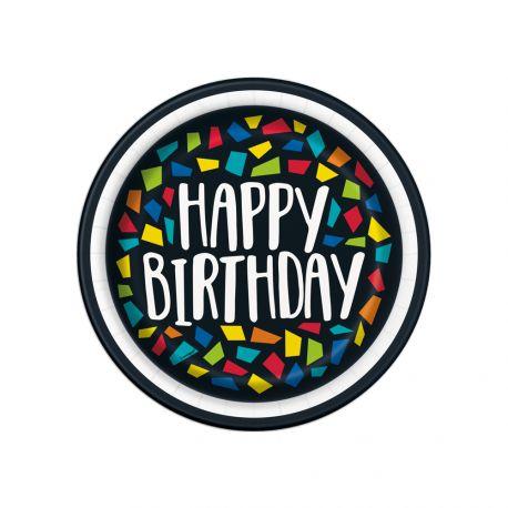 8 assiettes à dessert en carton Happy Birthday mosaic idéal pour une décoration de table d'anniversaire Dimensions : Ø18cm
