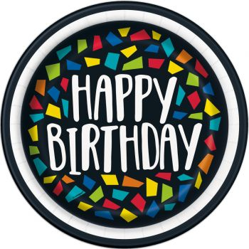 8 Assiettes Happy Birthday mosaic
