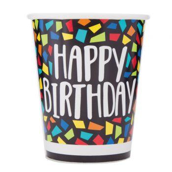 8 gobelets Happy Birthday mosaic