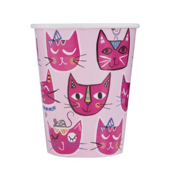 8 gobelets pink cats