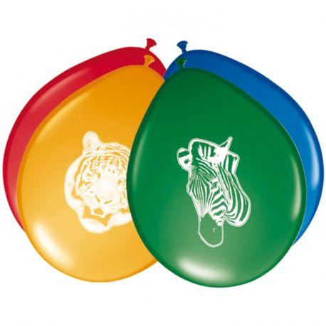 8 Ballons en latex pour la décoration de fête d'un anniversaire Safari Dimensions: Ø30cm