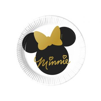 8 Assiettes dessert Minnie gold