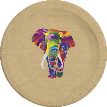 8 Assiettes compostable éléphant