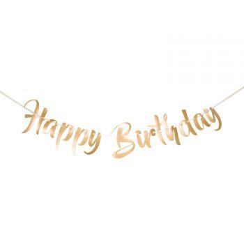 Banderole métallisé or Happy Birthday