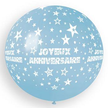 1 Ballon géant Joyeux Anniversaire bleu bébé Ø80cm