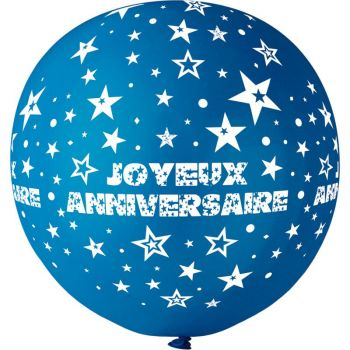 1 Ballon géant Joyeux Anniversaire bleu roi Ø80cm
