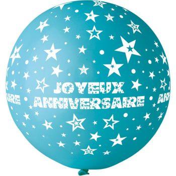 1 Ballon géant Joyeux Anniversaire turquoise Ø80cm