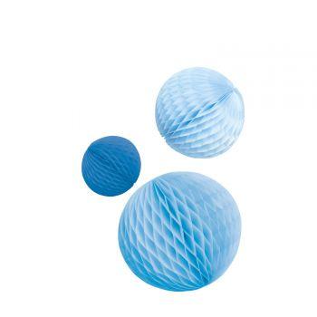 3 Boules alvéolées tons bleu