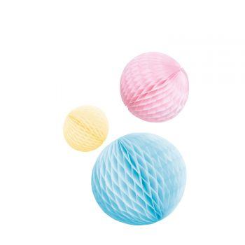3 Boules alvéolées tons pastel multicolore