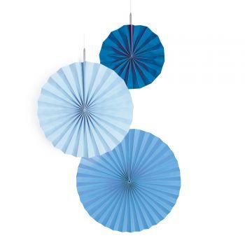 3 Suspensions éventails bleu