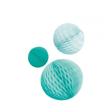 3 Boules alvéolées tons mint