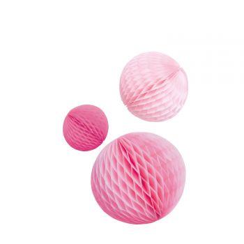 3 Boules alvéolées tons rose
