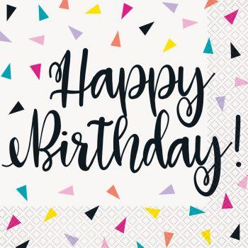 16 serviettes Birthday triangle confettis