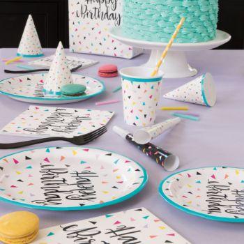 8 gobelets Birthday triangle confettis