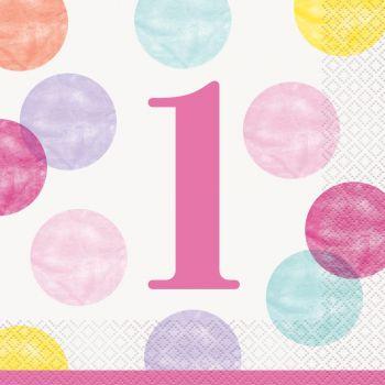 16 serviettes 1 an pink dots