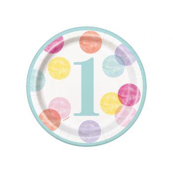 8 assiettes à dessert 1 an pink dots