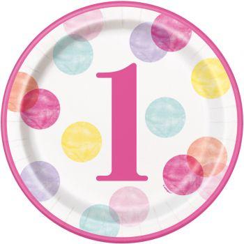 8 assiettes 1 an pink dots