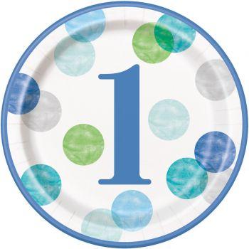 8 assiettes carton 1 an blue dots