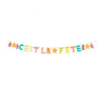 Banderole C'est la fête colorée et pailletée