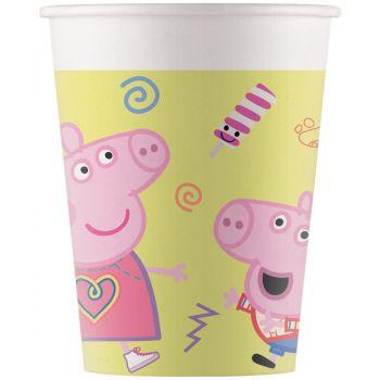 8 gobelets carton métallisé Peppa Pig