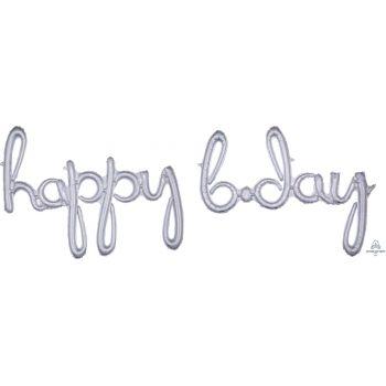 Ballon alu happy b.day script argent holographique
