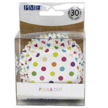 30 Caissettes alu pois multicolores PME