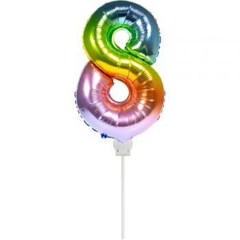Mini ballon chiffre 8 arc en ciel gonflé