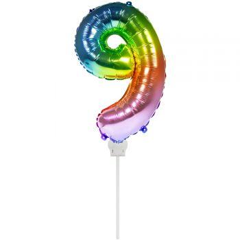 Mini ballon chiffre 9 arc en ciel gonflé