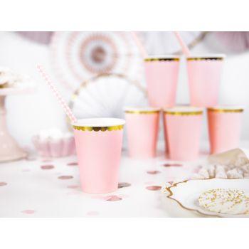 6 gobelets sweet pastel rose