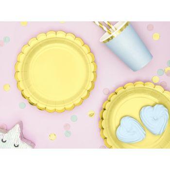 6 petites assiettes sweet pastel jaune