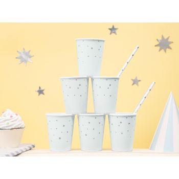 6 gobelets pastel bleu étoiles argent