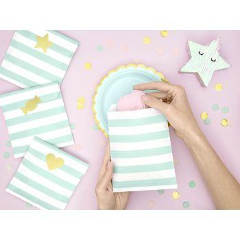6 Sacs papier rayures mint avec stickers or