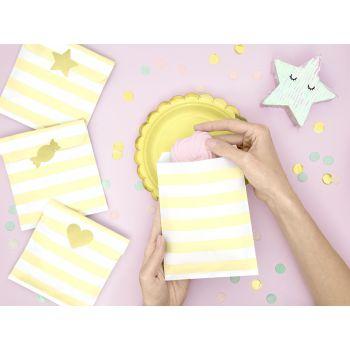 6 Sacs papier rayures jaune avec stickers or