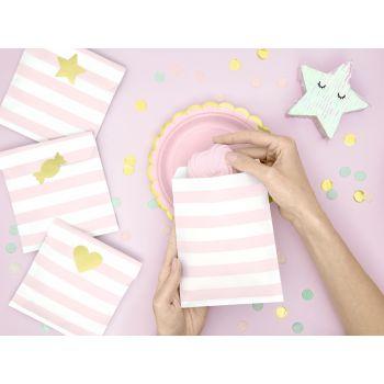 6 Sacs papier rayures rose avec stickers or