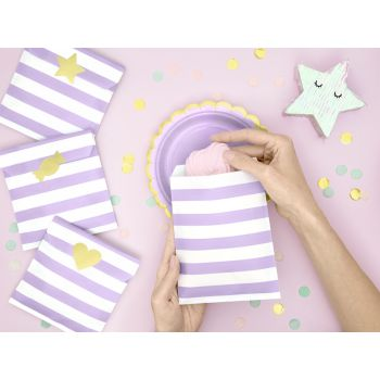 6 Sacs papier rayures lilas avec stickers or